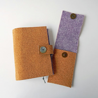 Notebook Cover & Pencil Case Set - Cork & Felt. MTO Choice of Colour Vegan Gifts