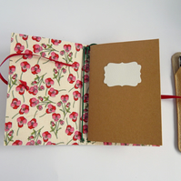 A6 Cork & Liberty Fabric Notebook Cover for two notebooks. Gifts for women.