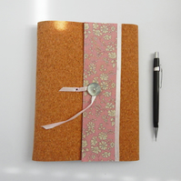 A5 Cork & Liberty Fabric Notebook Cover for 3 notebooks or sketchbooks.