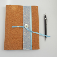A5 Liberty Fabric & Cork Notebook Cover for 3 sketchbooks or notebooks
