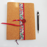 A5 Notebook Cover in Liberty & Cork for 3 sketchbooks or notebooks