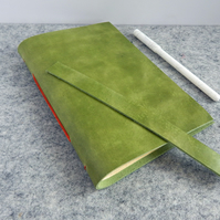 Green Leather Journal.  Pull-up calf leather with orange binding. Fathers Day