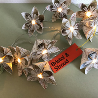 Vintage Map Paper Flower Fairy Lights - Bristol & Stroud