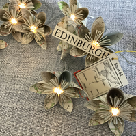 Vintage Map Paper Flower Fairy Lights - Edinburgh