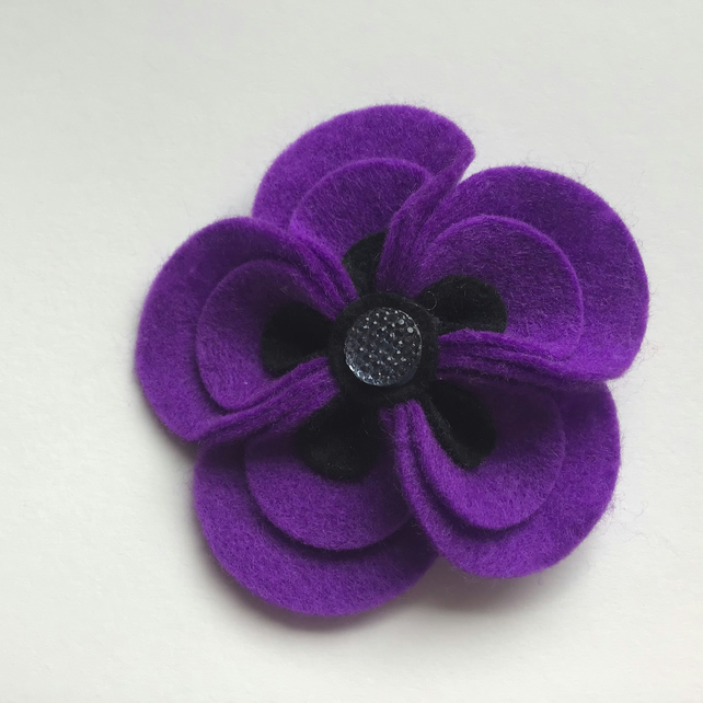 Purple and Black Flower Poppy Daisy Style Brooch