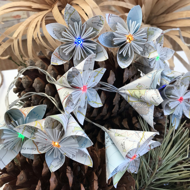 Map Paper Flower Fairy Lights - Ipswich & The Naze - Battery Operated