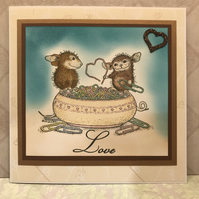 Anniversary,Wedding, Birthday Card. Cute Mice