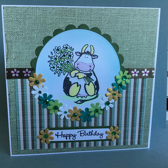 Cute Moo Cow with a Bouquet of Flowers Birthday Greetings Card