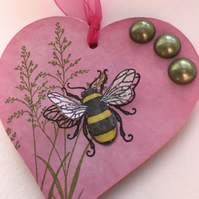 Hanging Decorative Wooden Heart- Bumble Bee