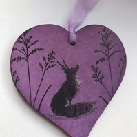 Hanging Wooden Heart - Forest Fox