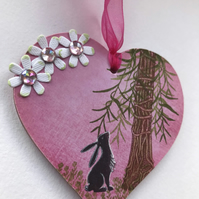 Wooden Hanging Heart with Hare and Forest Tree