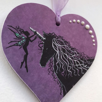 Wooden Hanging Heart - Fairy and Unicorn