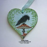 Small Wooden Hanging Heart with Mushrooms and Crows