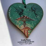 Forest Fairies and Mushroom Wooden Hanging Heart Decoration