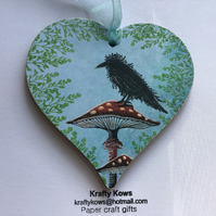 Crow and Mushroom Decorative Hanging Heart