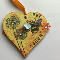 Decorative Bumble Bee Wood Hanging Heart