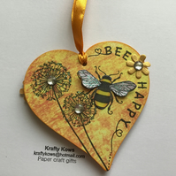 Decorative Bumble Bee Wooden Heart Hanging Decoration