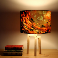 Koi on Violet and Olive Drum Lampshade by Lily Greenwood (30cm Diameter)