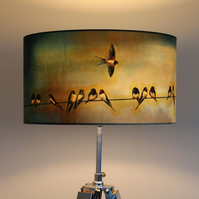 Swallows Drum Lampshade by Lily Greenwood (45cm Diameter)