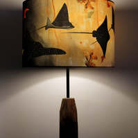 Spotted Eagle Rays Drum Lampshade by Lily Greenwood (30cm diameter)