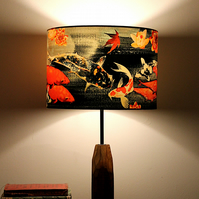 Koi on Black and Grey Drum Lampshade by Lily Greenwood (30cm diameter)