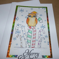 Owl Christmas card hand drawn hand illustrated orange