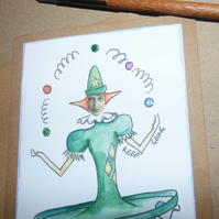 Juggler card hand illustrated hand drawn