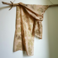 Rose Leaf Ecoprint Naturally Dyed Pure Silk Scarf