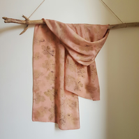 Rose Leaf Ecoprint Naturally Dyed Coral Pure Silk Scarf