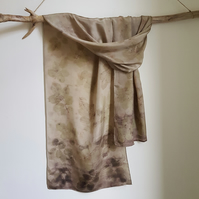 Rose Leaf Ecoprint and Nettle Dye Pure Silk Scarf