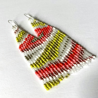 Abstract Long Fringed Beadwoven Earrings