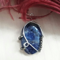 Blue Sodalite Pendant Wire Wrapped in Sterling Silver with Pyrites Beads