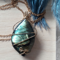 Green & Gold Flashing Labradorite Pendant Wire Wrapped in Brass with Necklace