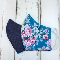 Handmade Reversible Face Mask Adult Size Denim and Floral