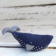 Whale Doorstop Handmade From Denim And Navy White Polka Dot Fabric
