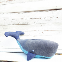 Whale Doorstop Handmade From Denim And Turquoise Polka Dot Fabric