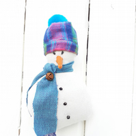 Handmade Snowman Hanging Decoration With Bobble Hat and Scarf