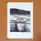 Burnsall, Yorkshire Dales, Drawing - Leeds Poster
