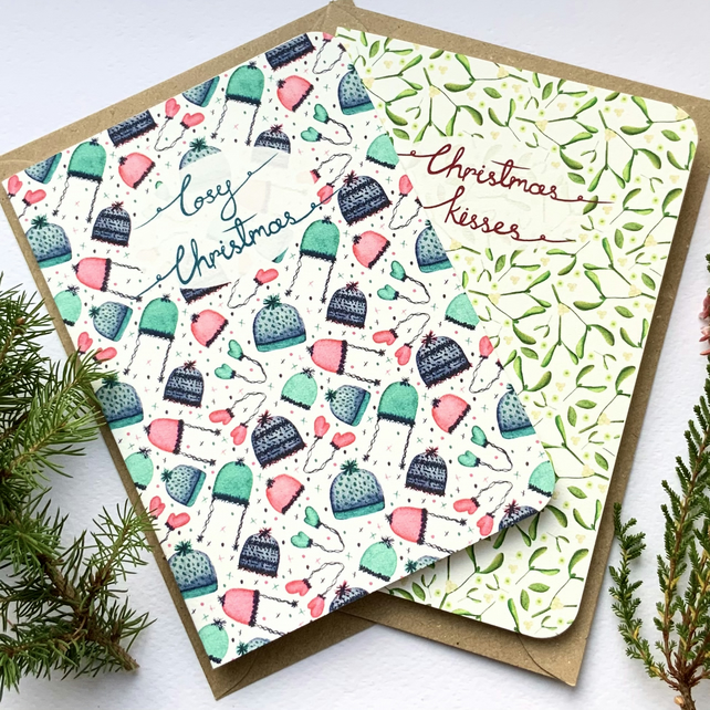 Pattern Christmas cards pack of four