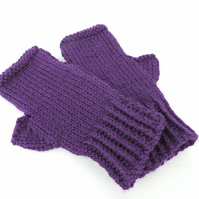 Knitted Fingerless Mittens Dark Purple