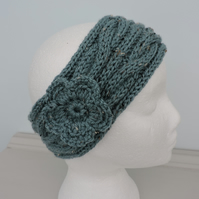 Headband, Ski Band, Ear Warmers in Dusky Turquoise Tweed