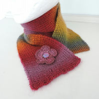 Scarf  Hand Knitted in Autumn Colours
