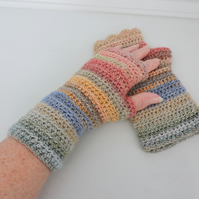 Fingerless Mitts   Multi Coloured