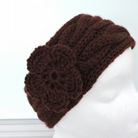 Head Band, Ski Band, Ear Warmers in Chocolate Brown