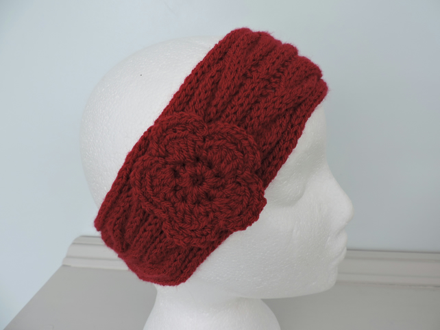 50% off Sale now 5.00  Headband, Ski Band, Ear Warmers in Red