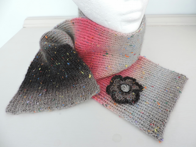 Scarf  Hand Knitted in Black Grey and Pink