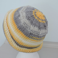 Beanie Hat  Grey Yellow and White Hand Knitted