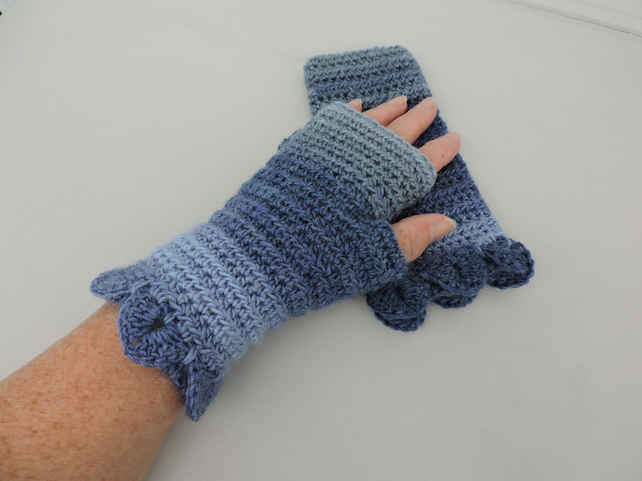Fingerless Mitts with Dragon Scale Cuffs Assorted Blue