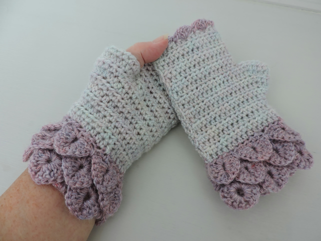 Fingerless Mitts Dragon Scale cuffs Two Tone Pink and Mother of Pearl