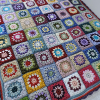 Granny Square Blanket Throw  Multi Coloured